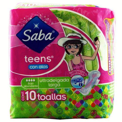 Toalla Sanitaria Con Alas Saba Teens Ultradelgadas L10 Un