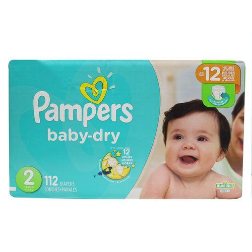 Pañal Para Bebé Pampers Baby Dry Super S2 112 Un