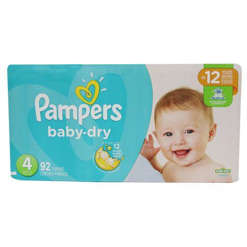 Pañal Para Bebé Pampers Baby Dry Super S4 92 Un