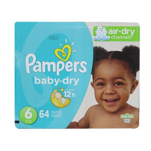Pañal Para Bebé Pampers Baby Dry Super S6 64 Un