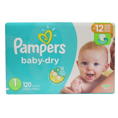 Pañal Para Bebé Pampers Baby Dry Super S1 120 Un