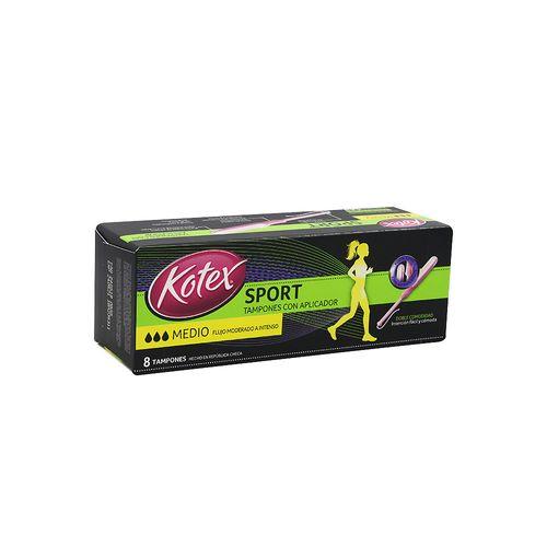 Tampones Kotex Sport  con Aplicador Flujo Moderado, 8 Uds