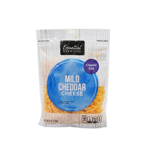 Queso Cheddar Essential Everyday Rallado En Bolsa 8 Oz
