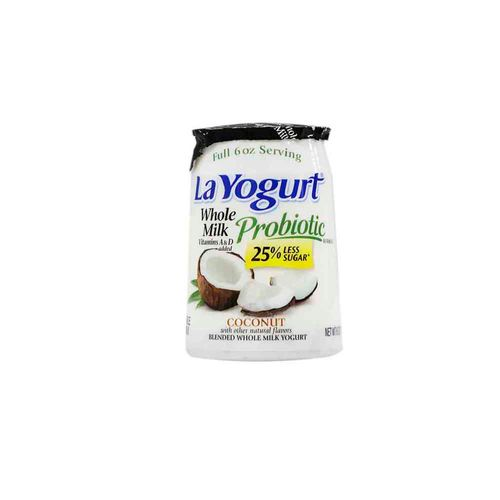 Yogurt Probiótico La Yogurt De Leche Entera Y Coco 6 Oz