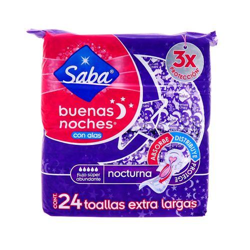 Toalla Femenina Saba Nocturna 3X Con Alas Xl 24Un