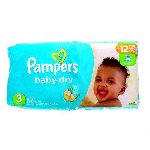 Pañal Bebé Pampers Baby-Dry Extra Absorbente 3 52 Un