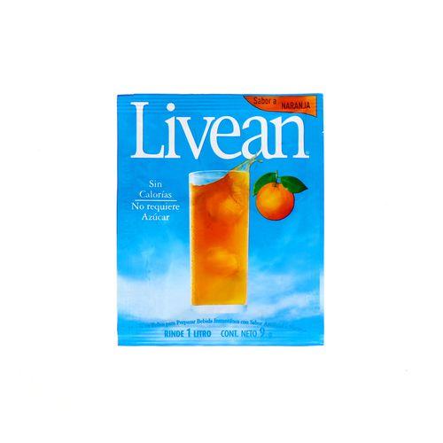 Bebida En Polvo Livean Sabor Naranja 9 Gr