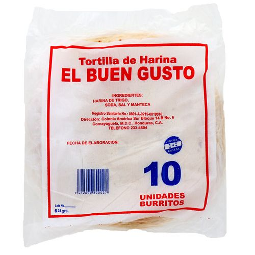 Tortillas De Harina El Buen Gusto Para Burritos 10 Un