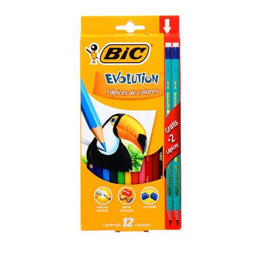 Lápiz Bic Evolution 12Unidades + 2 Lapices Grafito