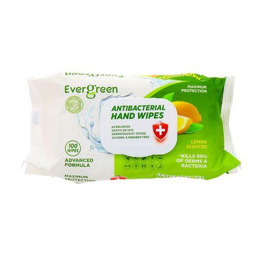 Toallitas Antibacteriales Evergreen Para Manos Limón 100 Un