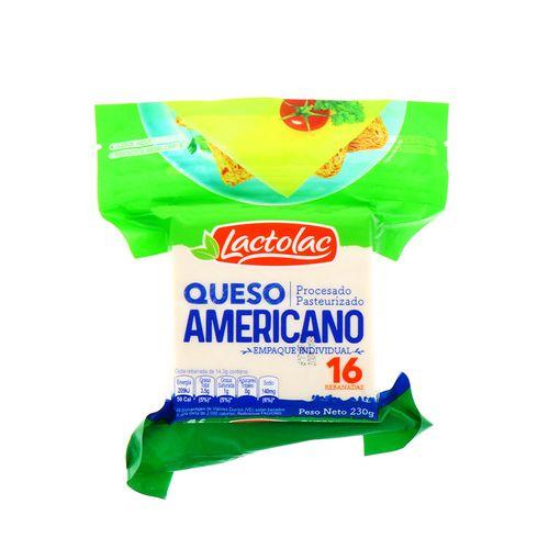 Queso Americano Lactolac Procesado Blanco 230 Gr