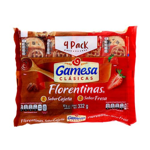 Galleta Gamesa Florentina Cajeta Fresa 332 Gr